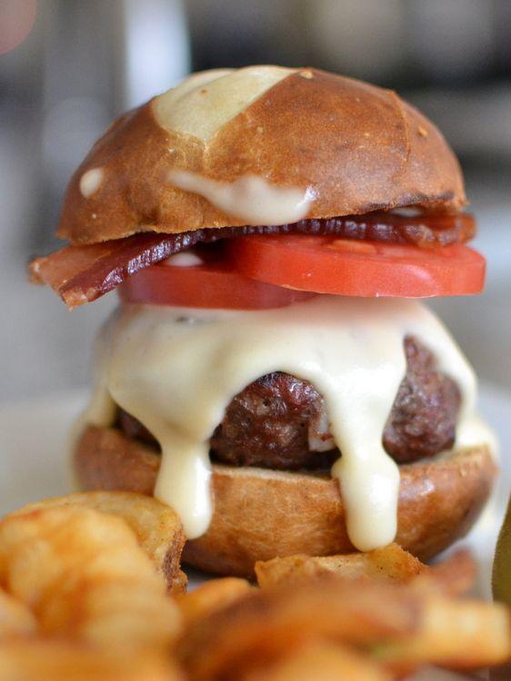 Pretzel Burger with Beer Cheese