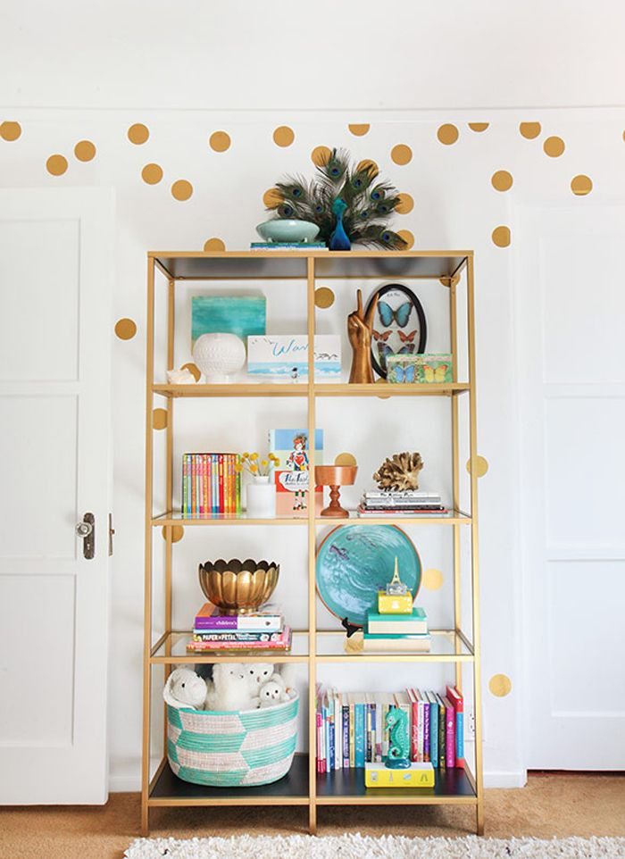Pop of Gold! DIY bookcase
