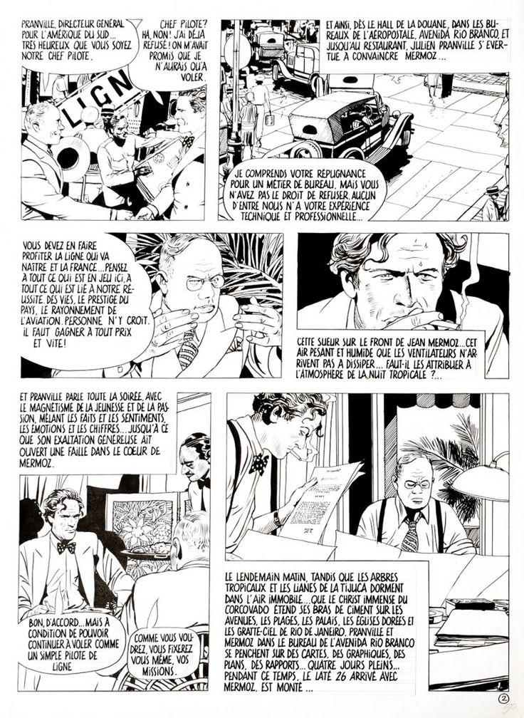 Mermoz Seconda tavola per la graphic novel dedicata al celebre aviatore. Matita e china su cartoncinocm 35x49,5.