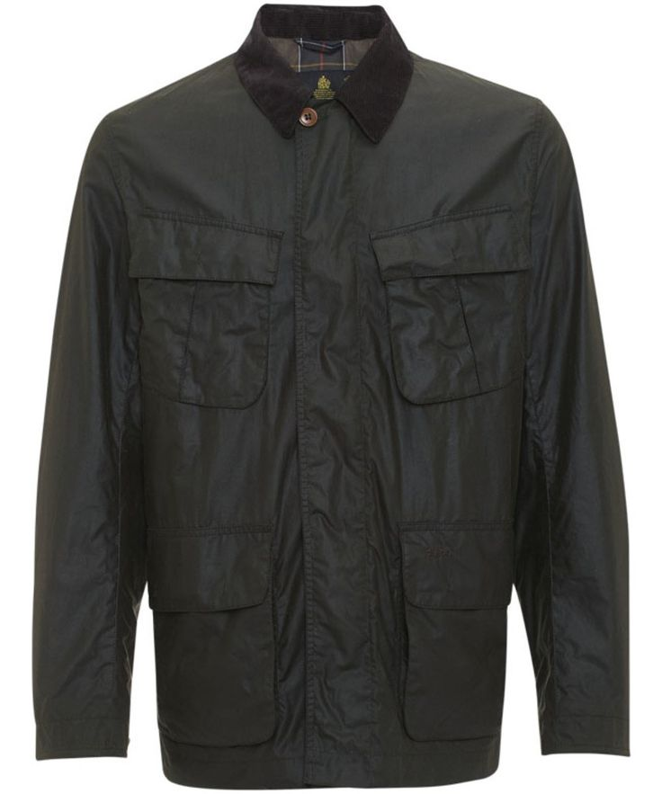 Mens Barbour Livingston Waxed Jacket is a lightweight wax jacket with angled bellowed chest pockets with box pleat and hip patch pockets. Cord collar and concealed placket.