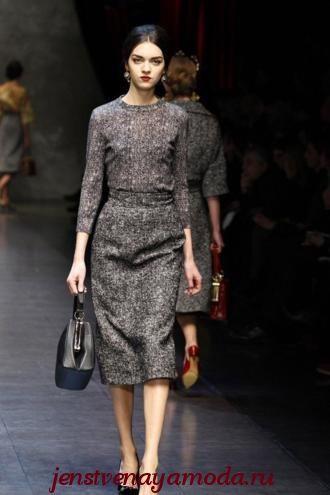 Классическое твидовое платье