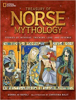 Review! Treasury of Norse Mythology by Donna Jo Napoli. Forget the Avengers – get the real mythology of Thor and Loki here! Thor, Odin, Loki, Frey, and giants OH MY! This book sums up the most common myths about the Norse gods and giants. From This Kid Reviews Books.