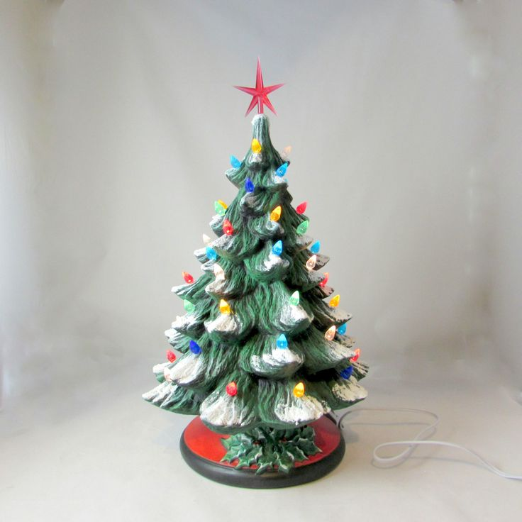 Ready to Ship -Large  Ceramic Christmas Tree - 16 inches with base-hand made Pine tree with light kit by aarceramics on Etsy
