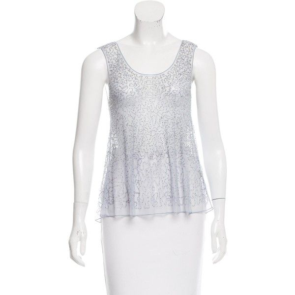 Pre-owned Chan Luu Sequin Sleeveless Top ($50) ❤ liked on Polyvore featuring tops, blue, sequin tank top, sequin tanks, sequin top, sleeveless tank top and blue top