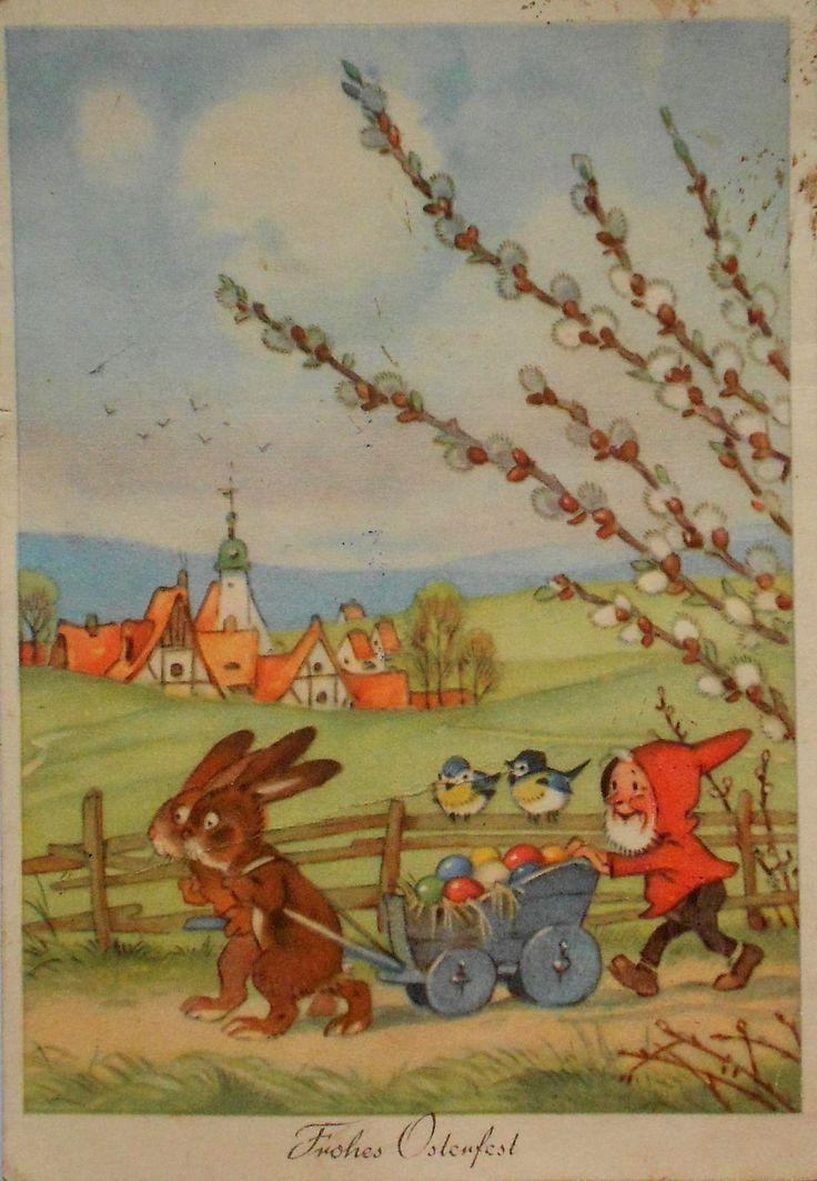 FRITZ BAUMGARTEN - ZWERG u. HASEN mit Wägelchen - c1955 | eBay