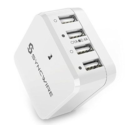 USB Charger Plug Syncwire 4-Port Wall Charger with UK EU US International Travel Adaptor (Interchangeable) -Lifetime Warranty Series- 6.8A/34W for Apple iPhone iPad, Samsung Galaxy, Smartphone, Tablet, Power Bank - White [UL Certification]