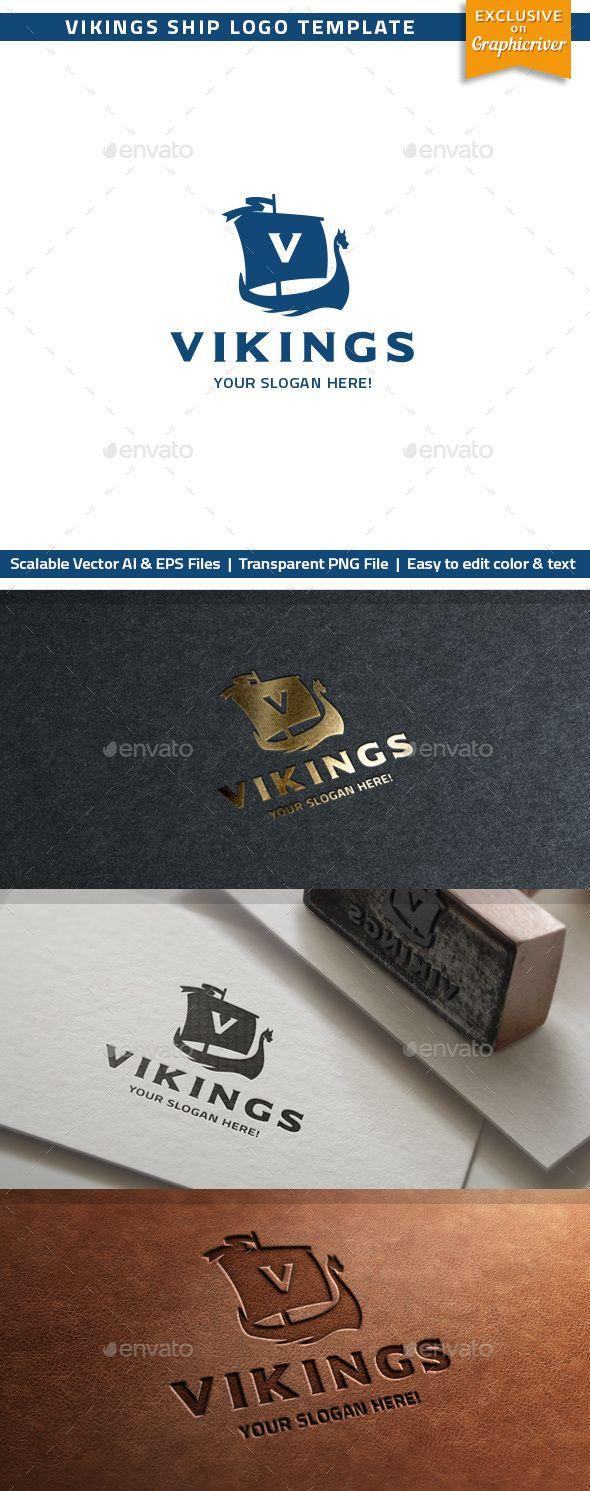 Vikings Ship Logo Template AI Illustrator. Download here: https://graphicriver.net/item/vikings-ship-logo/17507972?ref=ksioks