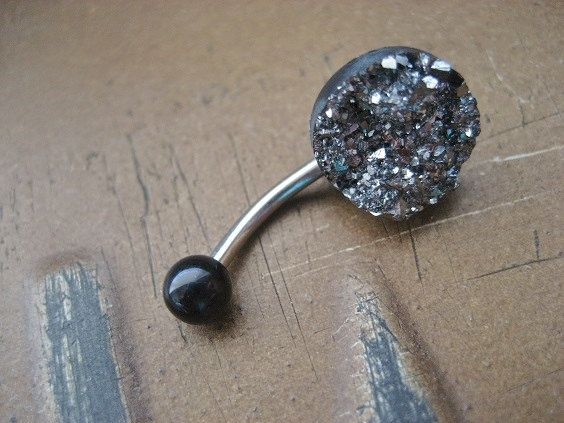 Belly Button Jewelry- Grey Druzy Crystal Pyrite Cluster Navel Piercing Ring Stud Glitter Glittery Gray Black Metallic Bar Barbell