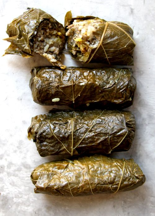 Grape leaves are stuffed with a beef, herb, and rice mixture in this slightly-sweet version of Iranian dolmeh.