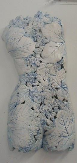 """Leaves Torso White Blue"", Ceramic by Artist: Barry Guppy"