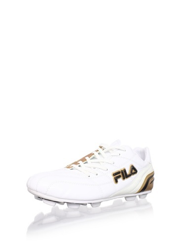 46% OFF Fila Kid\'s Calcio II Rubber Blade Soccer Cleat (Toddler/Little Kid/Big Kid) (White/Metallic Gold/Black)