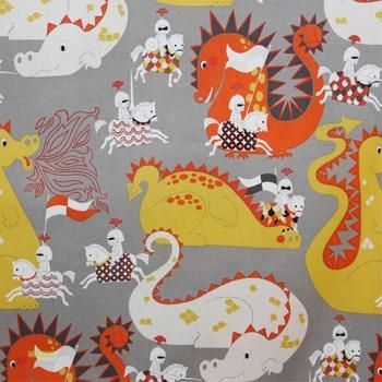 Knight meets Dragon fabric in grey