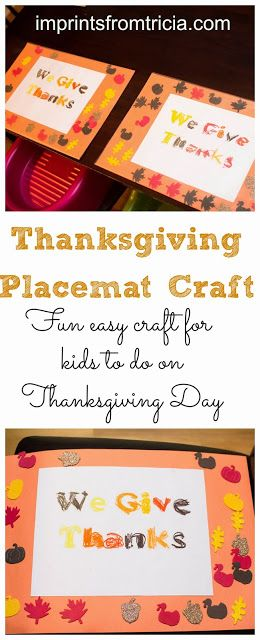 Thanksgiving Placemat For Kids To Make | Imprints From Tricia