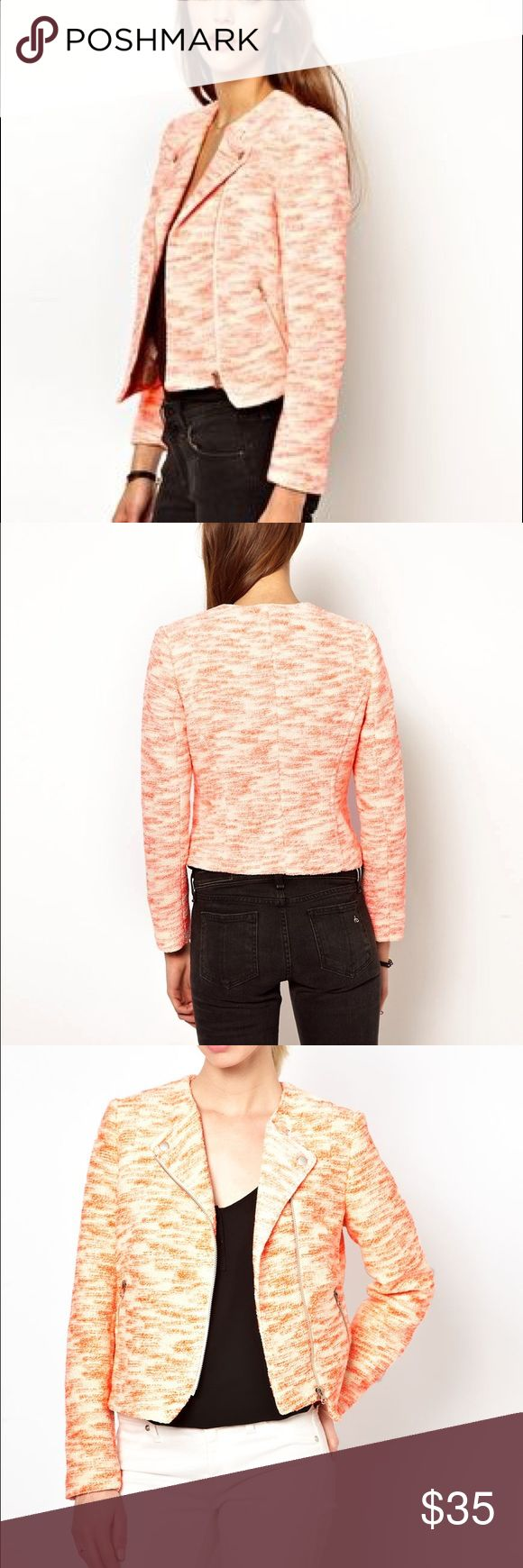 Whistles Textured Biker Jacket This beautiful jacket is cut in a cool biker shape so you can dress it up with pearls or go edgy rock star with some leather pants! It has a silky lining and the outside is soft but structured. The color is a brindled in pink-orange and white. Outer: 69%cotton, 17% polyester, 14%acrylic. Lining: 100% viscose   Zippered pockets and front with snap collar. Love this jacket!! Whistles Jackets & Coats