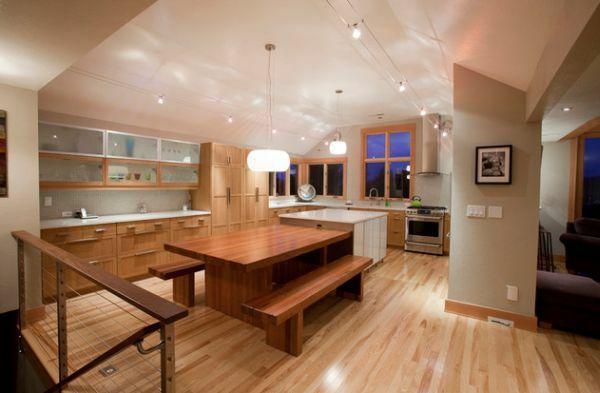 idée pour l'éclairage de la cuisine en bois