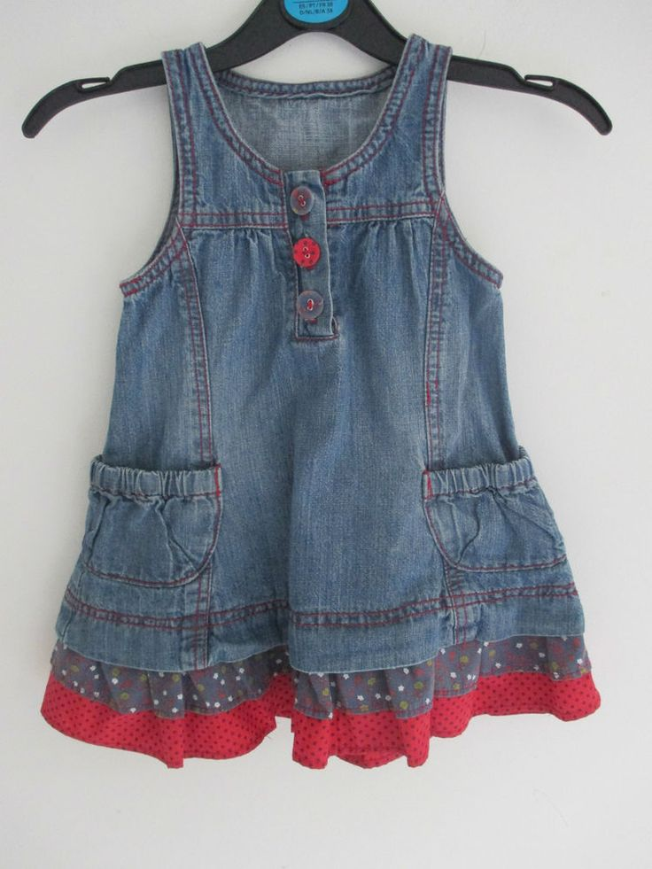 Baby girls vintage style denim dress with red & blue frill trim 18-23 mths