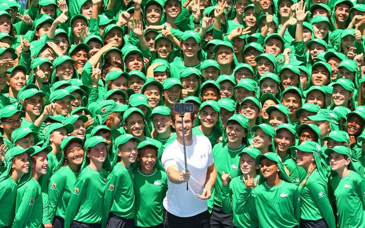 The best sports pictures of 2016:     Andy Murray of Great Britain takes a selfie during the annual ballkid team photo ahead of the 2016 Australian Open at Melbourne Park on Jan. 12 in Melbourne, Australia