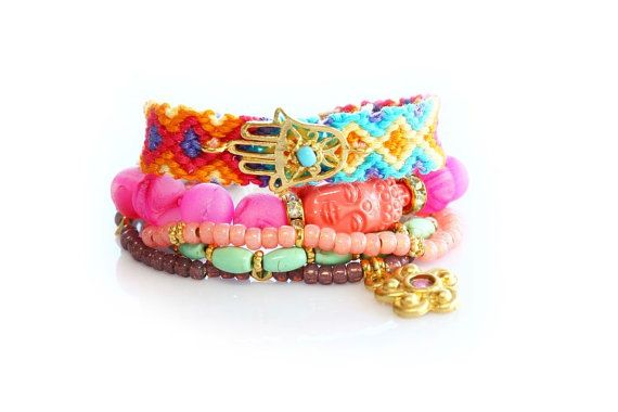 OOAK SS13,Hamsa,Buddha,Flower Charm,Swarovski,Bohemian Indian Boho Chic Gypsy Hippie Multiple Strands Beaded Friendship Bracelet Set