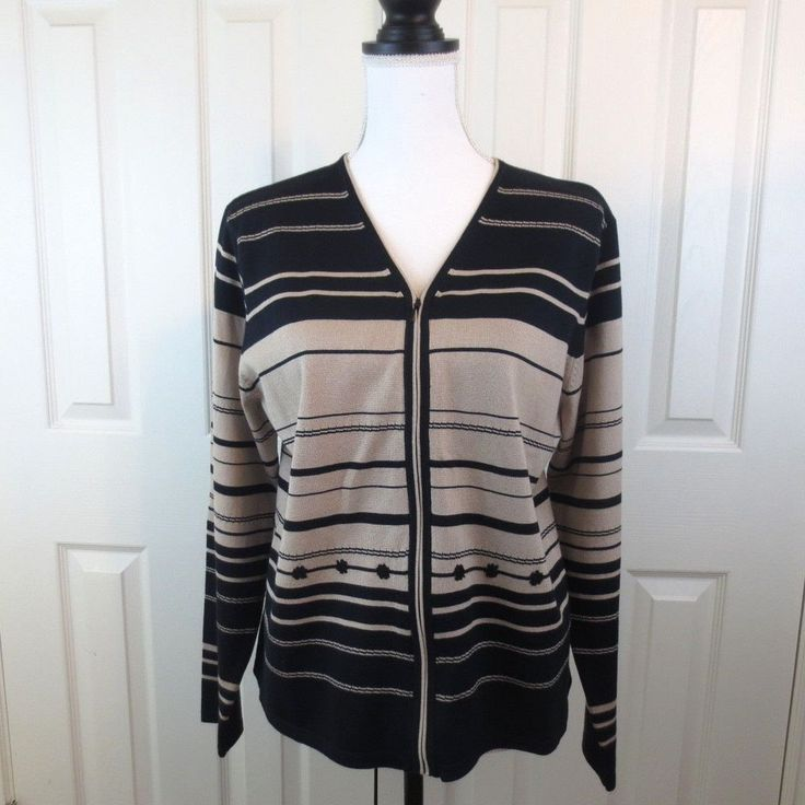 PENDELTON Women's Silk Blend Cardigan Sz LARGE Zip up Crochet Detail Black Beige #Pendleton #Cardigan #career