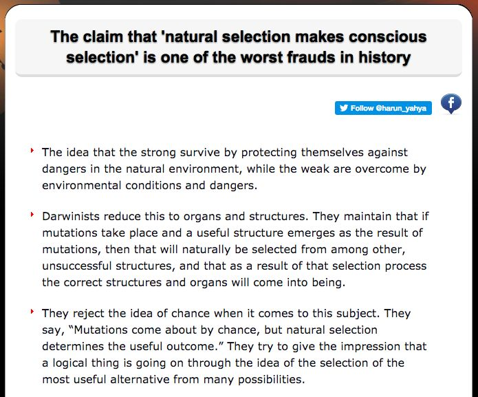 The claim that 'natural selection makes conscious selection' is one of the worst frauds in history