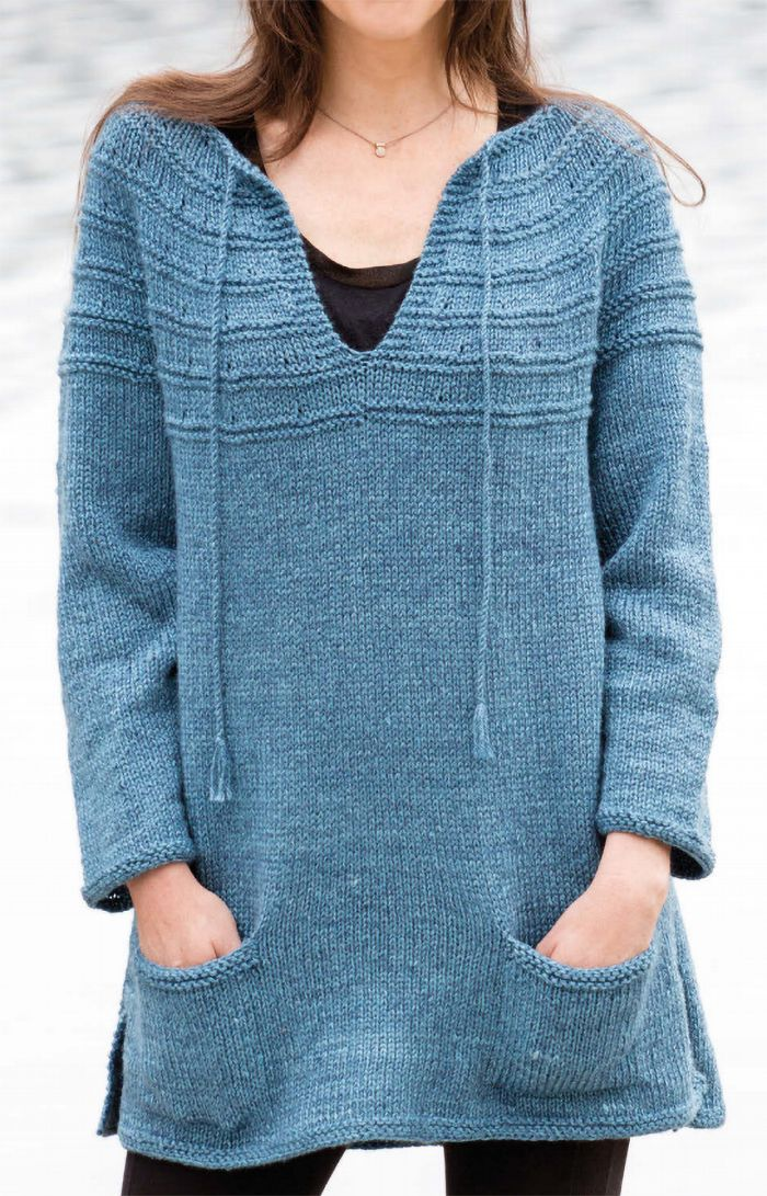 Free Knitting Pattern for Lena's Top-Down Sweater - Long-sleeved tunic-length pullover with pockets knit top down. Designed by Lena Skvagerson. Sizes XS (S, M, L, XL, 2XL). Aran yarn.