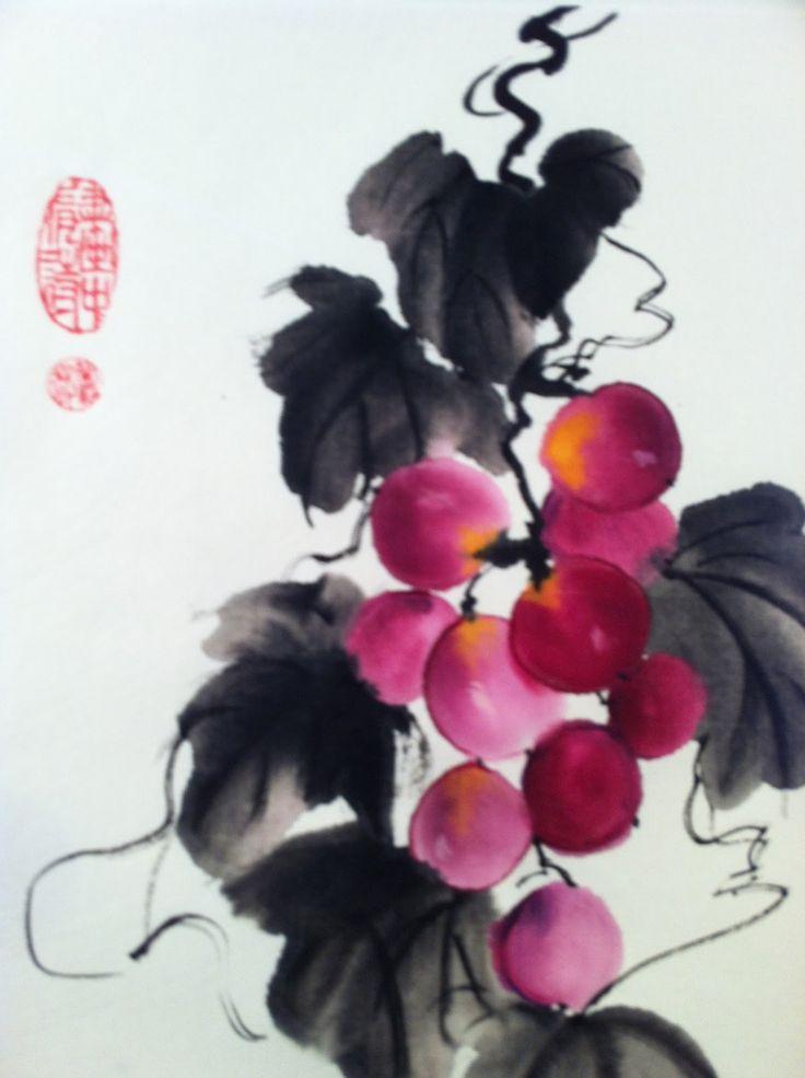 "American sumi-e style: by Lynn Lambert : ""Grapes"""