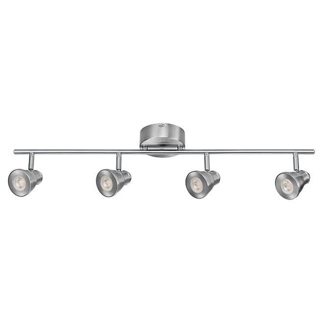 Luminaire sur rail, 4 ampoules DEL, 29 3/4 po, nickel brossé