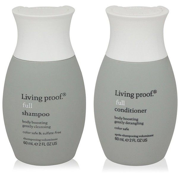 Living Proof Full Shampoo and Full Conditioner Travel Size Combo ($19) ❤ liked on Polyvore featuring beauty products, haircare, living proof, living proof haircare, travel size beauty products and living proof hair care
