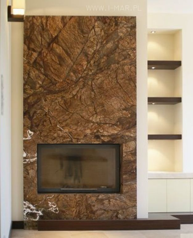 Obudowa kominka wykonana z marmuru Rain Forest Brown. Marmur układany w slabach. /// Fireplace casing made of marble Rain Forest Brown. /// #kominek #marmur #brązowymarmur #kamieniarstwo #RainForestBrown #marblefireplace #brown #poland #design #interior #architecture #photo #masonry #brownish