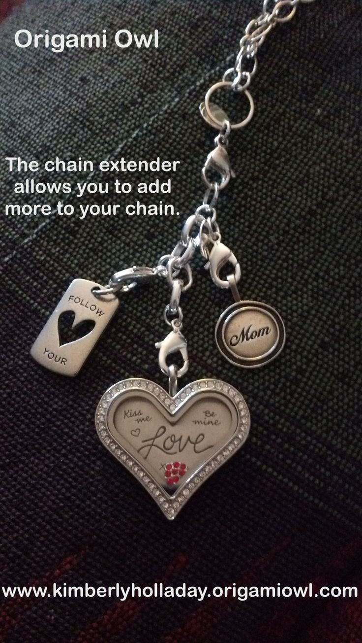 The Origami Owl chain extender allows you to add pieces to your necklace for a more layered look. www.meghangaska.origamiowl.com