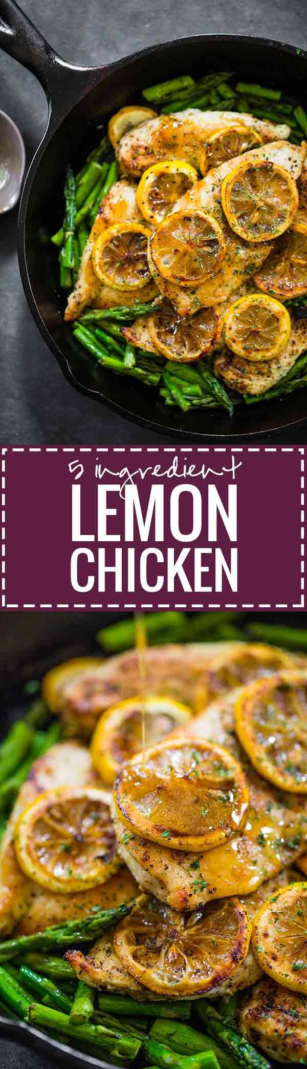 5 Ingredient Lemon Chicken with Asparagus - a bright, fresh, healthy recipe that's ready in 20 minutes! 300 calories. | pinchofyum.com
