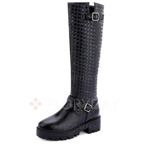 Zapatos - $63.69 - Zapatos Botas Plataforma Botas a la rodilla Tacón ancho Cuero (1625113969)