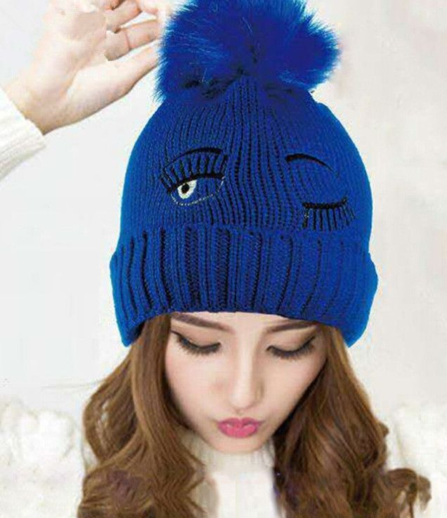 8.99$  Watch here - http://alinzs.shopchina.info/go.php?t=32479386148 - New Big Eyes Women Winter Warm Ear Muff Knitted Beanie Hat with Hair Ball   #aliexpressideas
