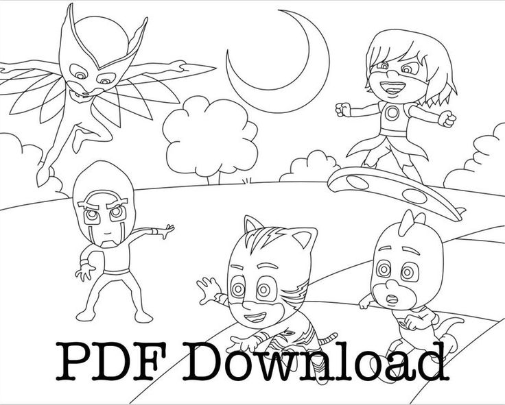 PJ Masks Coloring Pages. 3 Page immediate download PDF