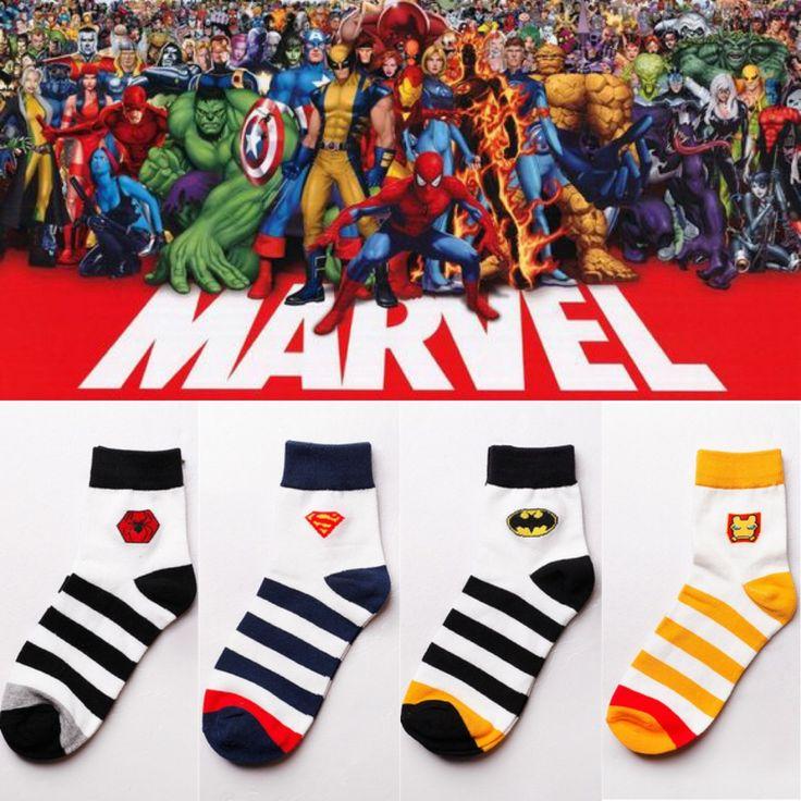 Marvel Superheroes socks - 4 pack //Price: $25.00 & FREE Shipping //     #superheroez #superheroes #marvel #dccomics