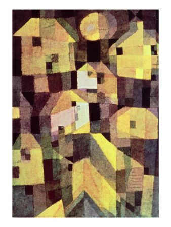 Paul Klee--abstract-composition-of-houses-modern-art