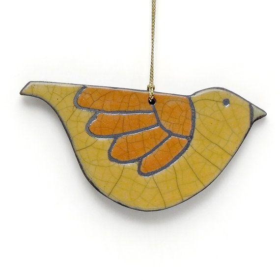 Ornamento de pájaros cerámica Raku turquesa por DavisVachon en Etsy