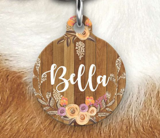 Floral Wood Pet Tag - Girly Pet Tag - Dog Tags For Dogs - Double sided Pet tag - Pet ID Tag - Dog Tag - Personalized Dog Tag- Collar Tag by MysticCustomDesignCo on Etsy