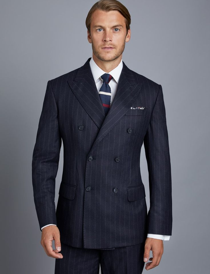 Men's Navy Double Breasted Italian Suit - 1913 Collection ...