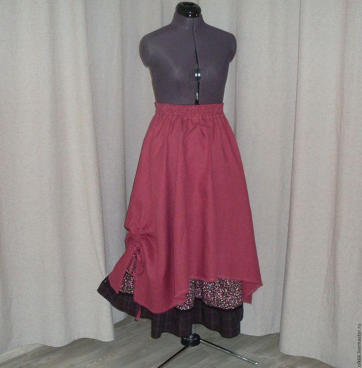 Купить №155.1 Льняная юбка бохо - фуксия, абстрактный, бордовый, малиновый, юбка летняя