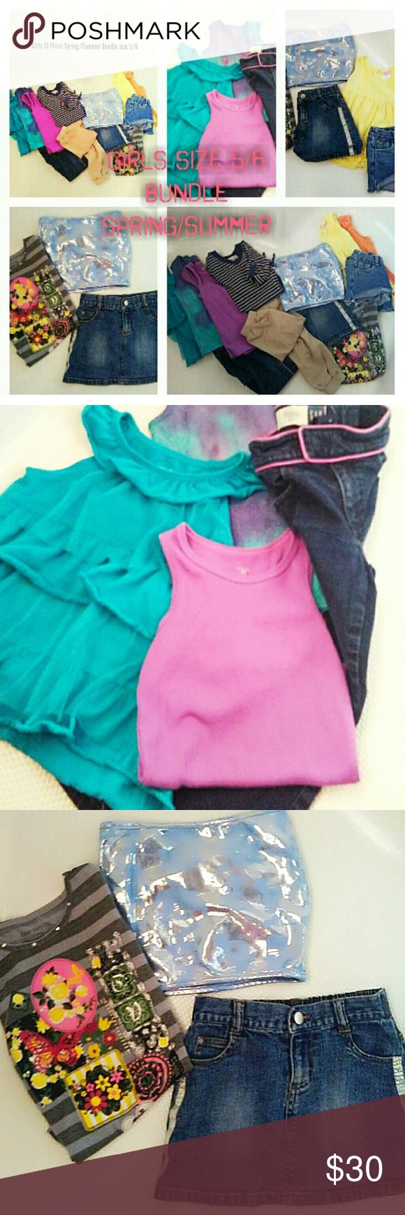 Girls sz 4/5/6 Huge Spring/ Summer Bundle Girls 12 Piece Size 4/5/6 Spring/Summer Bundle. Lots of Cute Stuff here for any little girl. 3 Girls Tanks purple, Tie Dye turquoise/ purple,1 Turquoise Ruffle Tank all size 5\6 with Gap jeans with purple line down side size 4. 1 jean skirt size 5, tube top size small,cute & comfy gray mix color Tee size 6x fits more like a 6,1 yellow swing tank size 4,2 pairs cut off jean shorts size 4,1 orange cotton tank size 4, 1 khaki cotton comfy pants size 4…