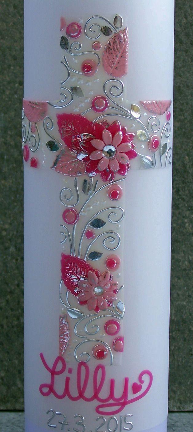 Taufkerzen - Taufkerze Blumen Kreuz Modell Lilly - ein Designerstück von Lebenslichter bei DaWanda