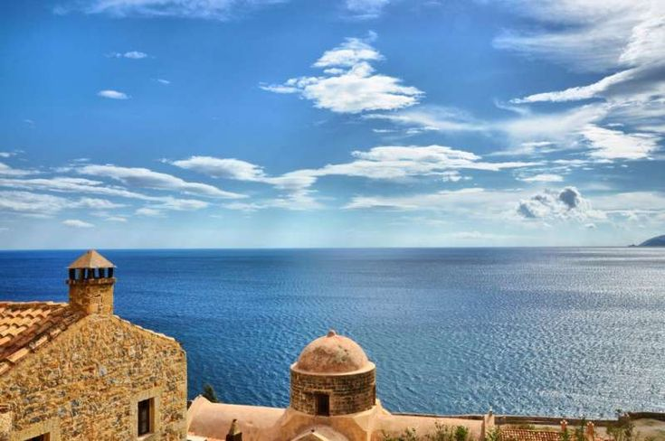 Let's Go! Monemvasia in Peloponnese, Greece.The Gibraltar of Greece.Many ruins of the original 800 houses and only four out of the original forty churches can be found in the lower town.