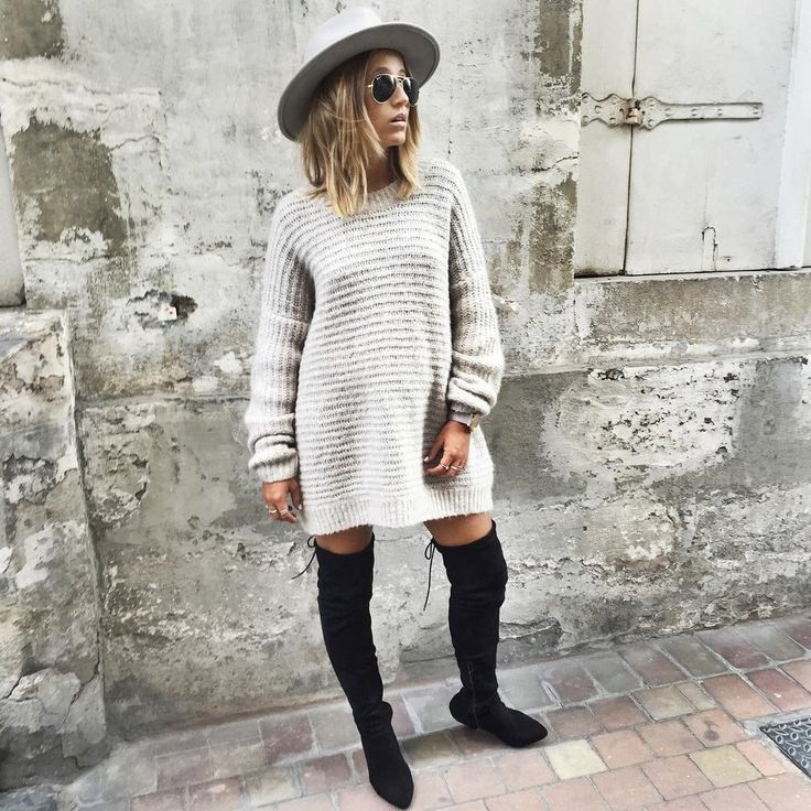 A Sweater Dress, Over-the-Knee Boots, and a Hat