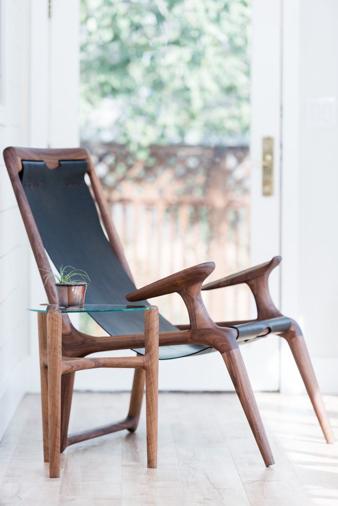 Handcrafted Danish Modern Black Leather Wood Sling Chair Furniture Design Danish Design Chair Sling Chair
