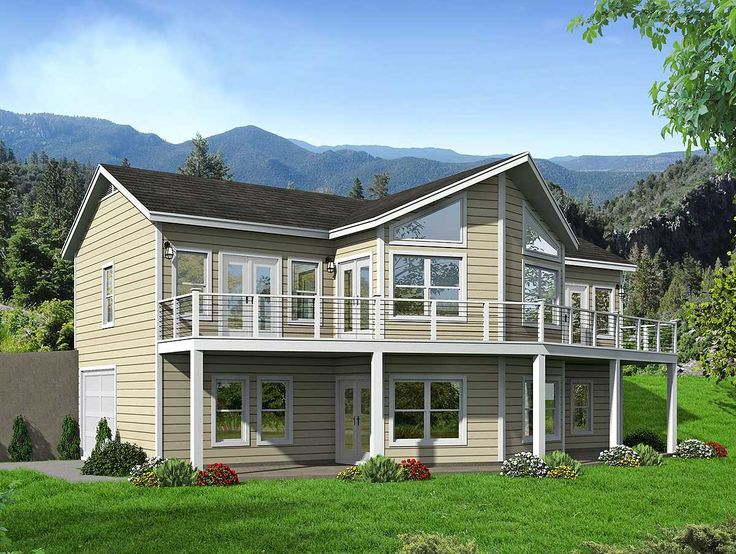 Lakefront house plans sloping lot for Lake home plans for narrow lots