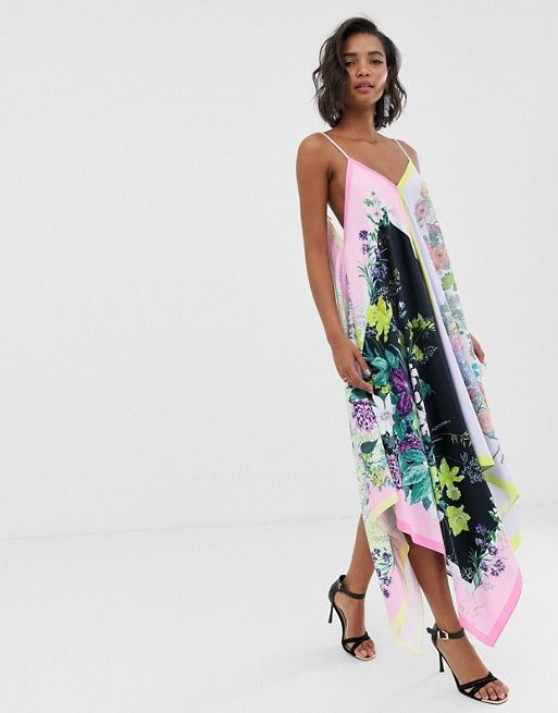 10aab86ae435 EDITION cami trapeze scarf print satin midi in 2019 | I need new ...