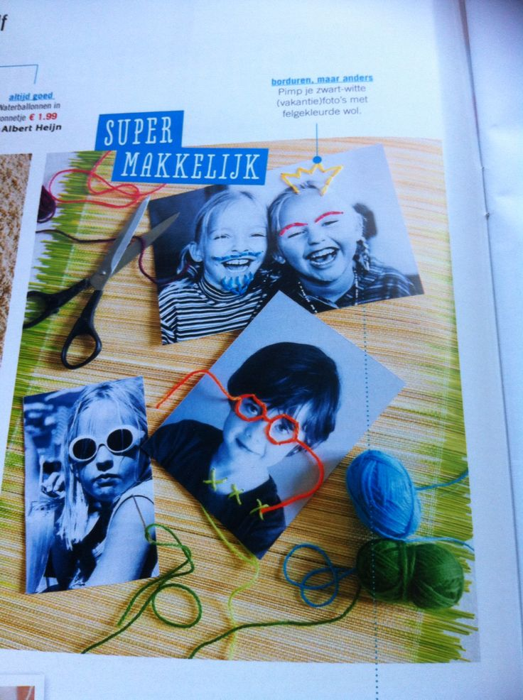 Hoe leuk? Foto van de kinderen, afdrukken op stevig papier en daarna brilletjes, kroontjes, snorretjes, etc. laten borduren met borduurgaren.