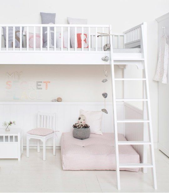 loft in Ruby's room, makes room for toys, reading/creative area, friends to sleepover, etc.