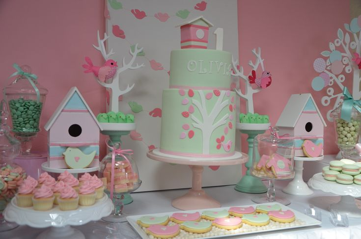 We Heart Parties: Party Information - Pink & Mint Bird themed 1st Birthday